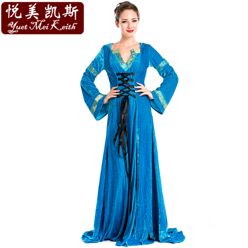 2015 New Blue European Royal Vintage Medieval Renaissance Victorian Ball Gown Fancy Dress Halloween Cosplay Costume Adult Women