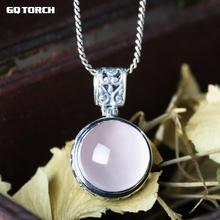 GQTORCH Gran Piedra Preciosa Natural de Cuarzo Rosa Colgantes De Las Mujeres Hermosas de Plata de Ley 925 Joyas de Cristal de La Vendimia Colar Feminino