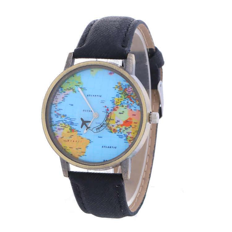 2018 модные брендовые ЖЕНСКИЕ НАРЯДНЫЕ Часы повседневные женские часы Global для путешествий на самолете карта джинсовая ткань Montre Femme