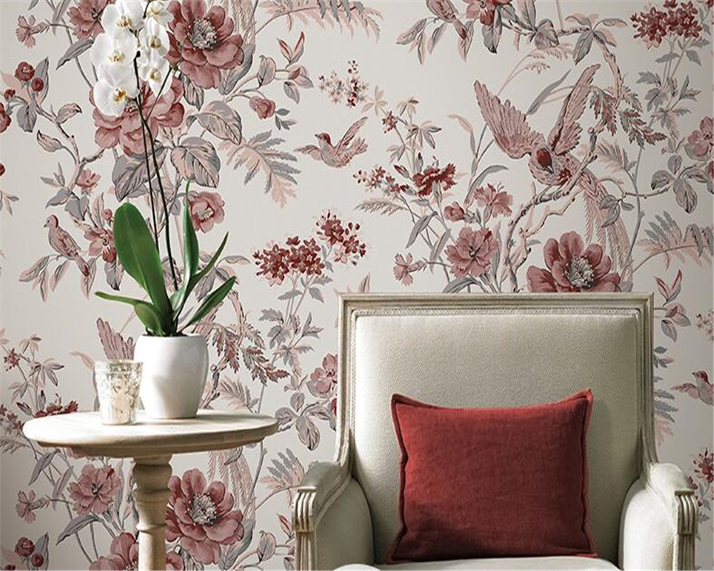 beibehang New Chinese pastoral style non-woven wallpaper indoor living room bedroom home decoration bird print wallpaper 3d beibehang american rural pastoral flowers 3d three dimensional non woven wallpaper bedroom bedroom full of living room backdrop