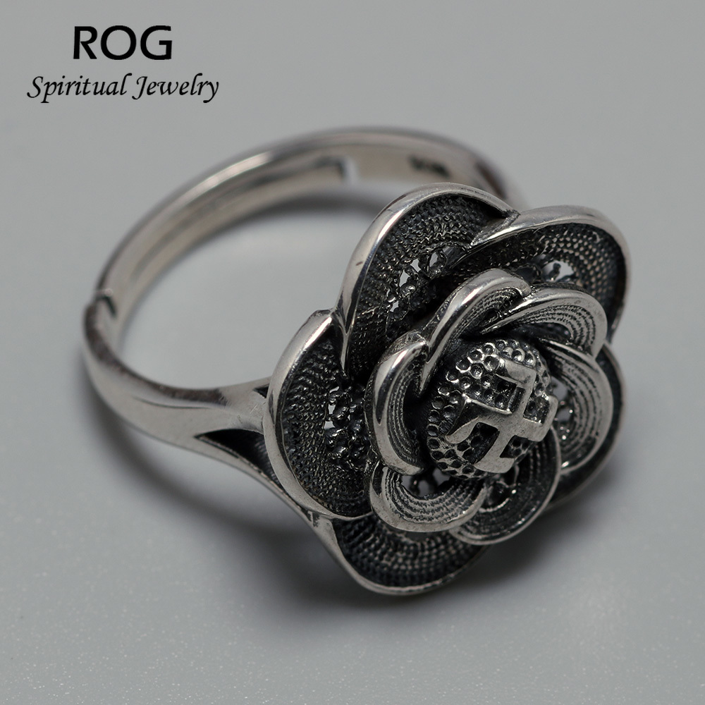 Real 925 Sterling Silver Mantra Rings For Women Rotatable Flower Buddhism Swastika Signet Ring Vintage Large Resizable