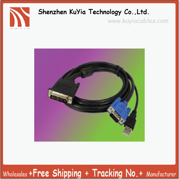 Free Shipping+2pcs/lot!! 1.8m New 30+5 Pin DVI D To 15 Pin VGA M/M+ USB LCD Monitor Cable/DVI TO VGA USB