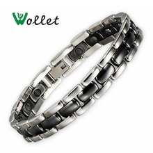 gifts for valentine's day tourmaline health bracelet magnetic germanium white ceramic stainless steel rose gold bracelet недорого