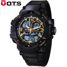 Dual Display Watches Top Brand OTS Military digital-watch Sport Watch For Men Dia Analog Quartz clock dual display wristwatches