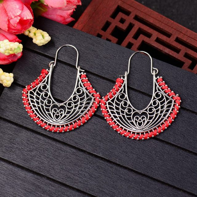 TopHanqi Bohemian Indian Jhumka Antique silver Metal Lay Earring Classic Caving Hollow Ethnic Earrings For Women Gypsy Jewelry