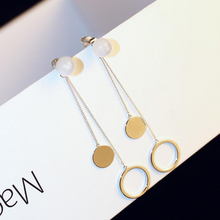 New Fashion Round Circle Dangle Earrings Metal Long Pendientes Earring For Women Hoops Pendant