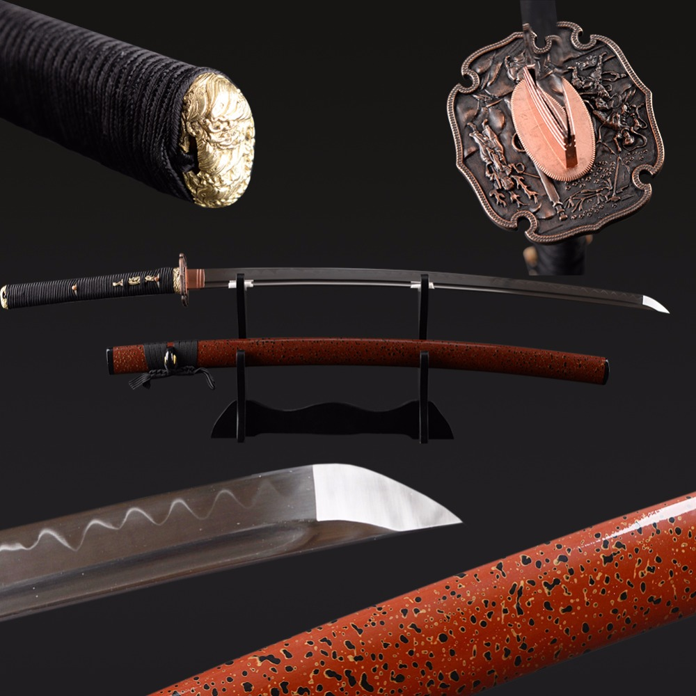 Fait main Forte Épée En Métal Trempé D'argile Japonais Samouraï Katana Épée 1095 En acier au carbone Pleine Soie Épée Vraie Épée Hamon
