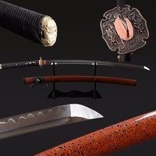 Handmade Sharp Metal Sword Clay Tempered Japanese Samurai Katana Sword 1095 Carbon Steel Full Tang Sword  Real Sword Hamon