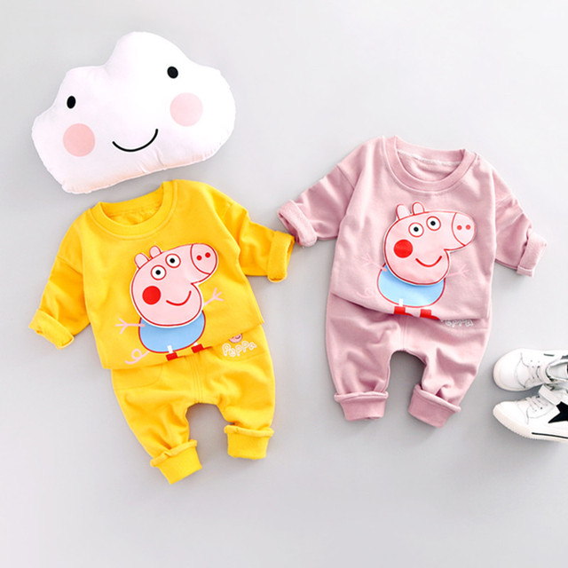 Spring Autumn Pink Pig Girls Boys Clothes Cartoon Cute Kids Clothes Sets Baby Cotton Casual Costume Children Tracksuit Vestidos