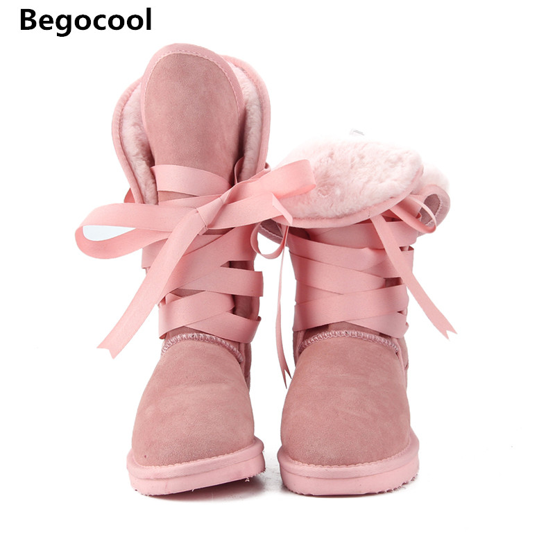 Australia Classic Fashion High UG Snow boots Women boots Genuine Cowhide Leather Lace up Long boots Fur Warm Winter Boots