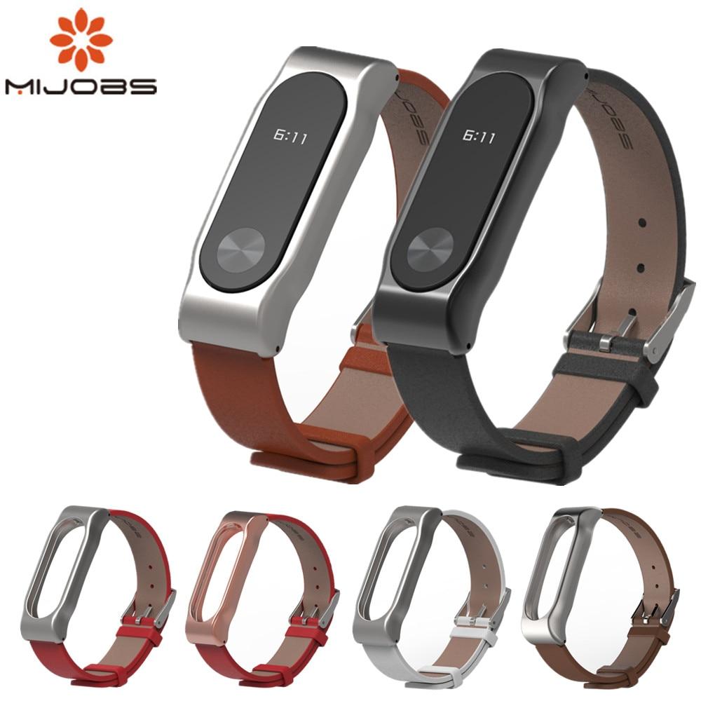 Mijobs Wrist Strap Leather For Xiaomi Mi Band 2 bracelet Screwless Wrist Strap Bracelet Smart Band Replace For Mi Band 2 wrist replacement wrist strap wearable wrist band for xiaomi bracelet