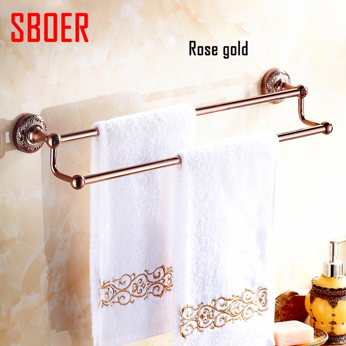 60cm Double Towel Bar,Towel Holder,Solid Brass Made,Rose Gold Finished,Bath Products,Bathroom Accessories free shipping 60cm double towel bar brief towel holder solid brass made gold finished bath products bathroom accessories