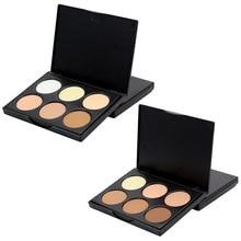 6 цветов емкость для теней highlighter порошок тонера консилер power palette контур хайлайтер Бронзовый макияж порошок