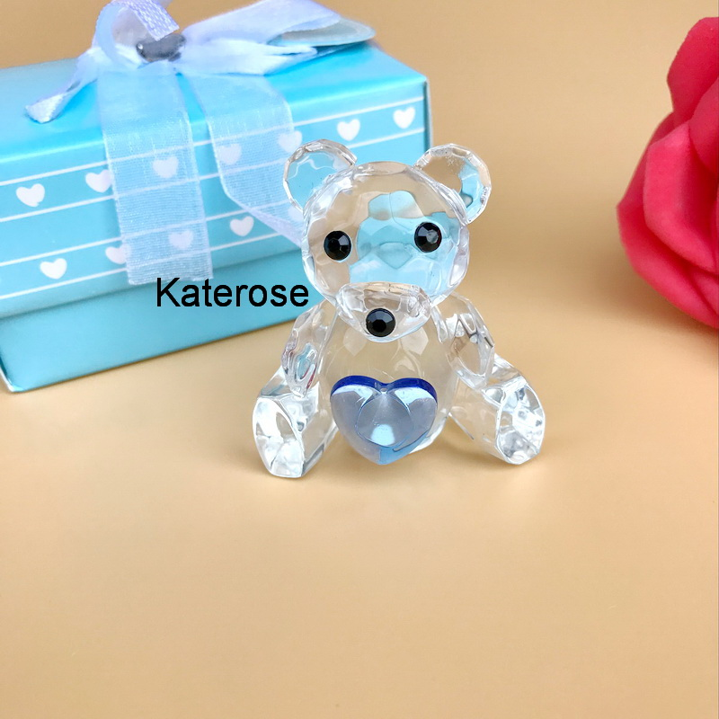 12pcs Lot FREE SHIPPING Baby Christenings Gift Choice Crystal Collection Blue Teddy Bear Figurines Baby