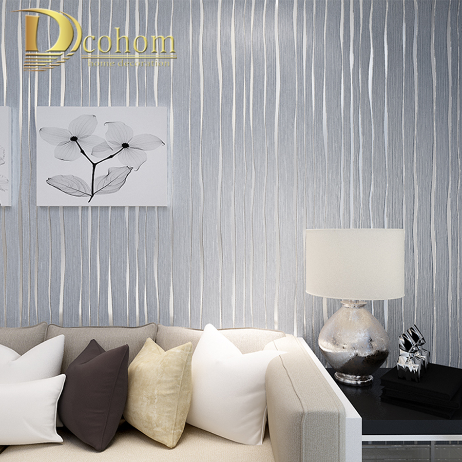 Simple gold beige pink grey modern striped wallpaper for for Dark grey bedroom wallpaper