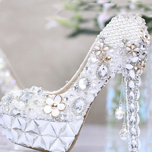 Beautiful Lady Wedding  Dress Shoes Crystal Women's High-Heel Platform Shoes Banquet Party Prom Shoes Gorgeous Bridal Shoes
