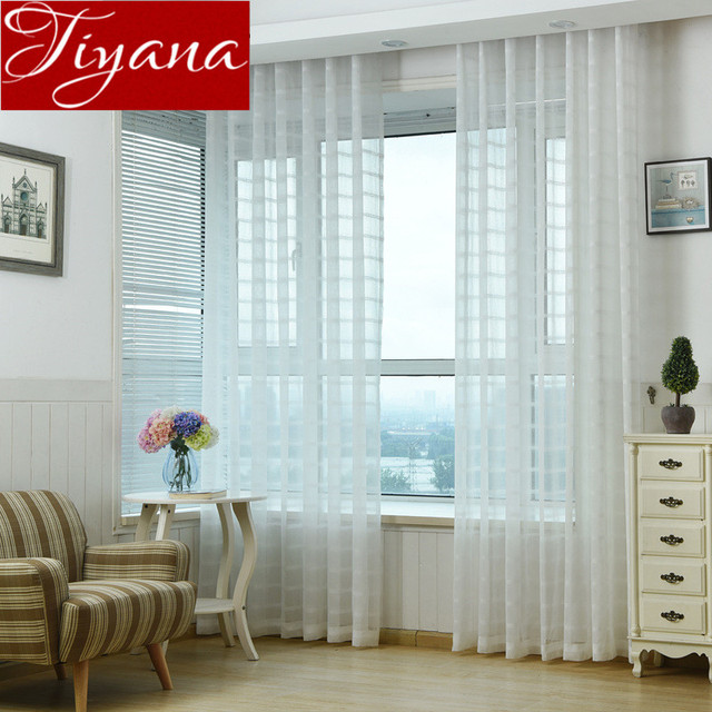 sheer white bedroom curtains. Plaid Curtains White Sheer Voile Window Living Room Bedroom Tulle Drapes Fabrics Cortinas Home Textiles F