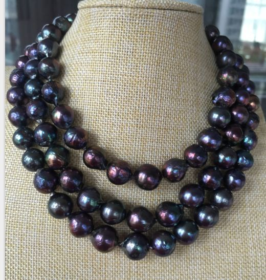 stunning 12-14mm freshwater baroque black green red pearl necklace 38inch 925silverstunning 12-14mm freshwater baroque black green red pearl necklace 38inch 925silver
