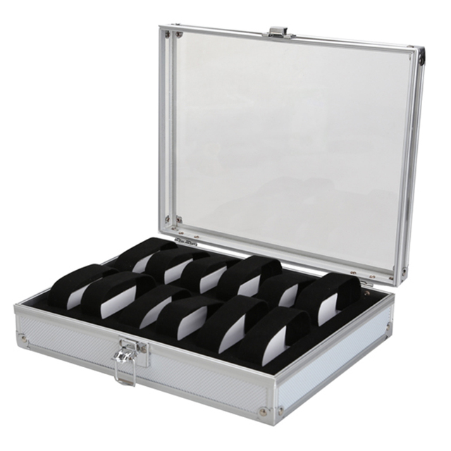 Delicate aluminum Alloy Watch Holder Boxes Soft Suede 12 Grid Slots Display Case