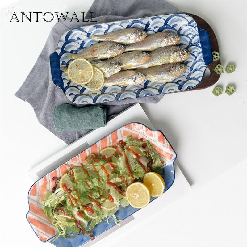 ANTOWALL japonais HENGFENG céramique longue bande assiette avec poignée grande assiette en gros