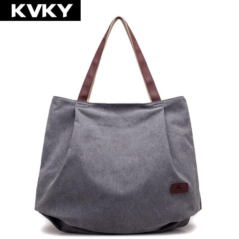 Canvas Handbags Solid Female Shoulder Bags Large Capacity Lady Casual Totes Bags Ladies Bolsas Feminina