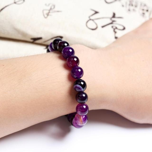 Meajoe Trendy Natural Stone Love Purple Bead Bracelet Vintage Charm Round Chain Beads Bracelets Jewelry For Women Friend Gift 3