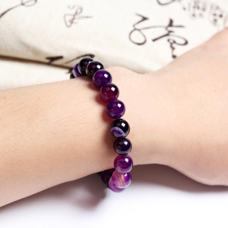 Meajoe Trendy Natural Stone Love Purple Bead Bracelet Vintage Charm Round Chain Beads Bracelets Jewelry For Women Friend Gift