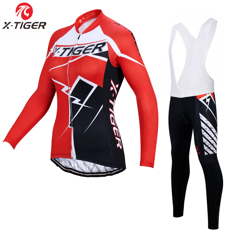 X Tiger Woman Bib Cycling Sets Mountain Bike Cycling Clothing Suit Anti UV MTB Bicycle Cycling