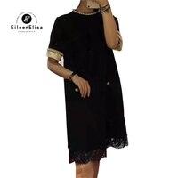 Summwr платья женские прямые платья Элегантный 2018 Дамы Перл Кружева платье черное платье партии