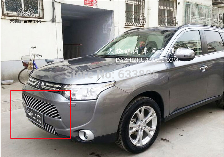 High quality stainless steel Front Grille Around Trim Racing Grills Trim For 2013 2015 Mitsubishi Outlander