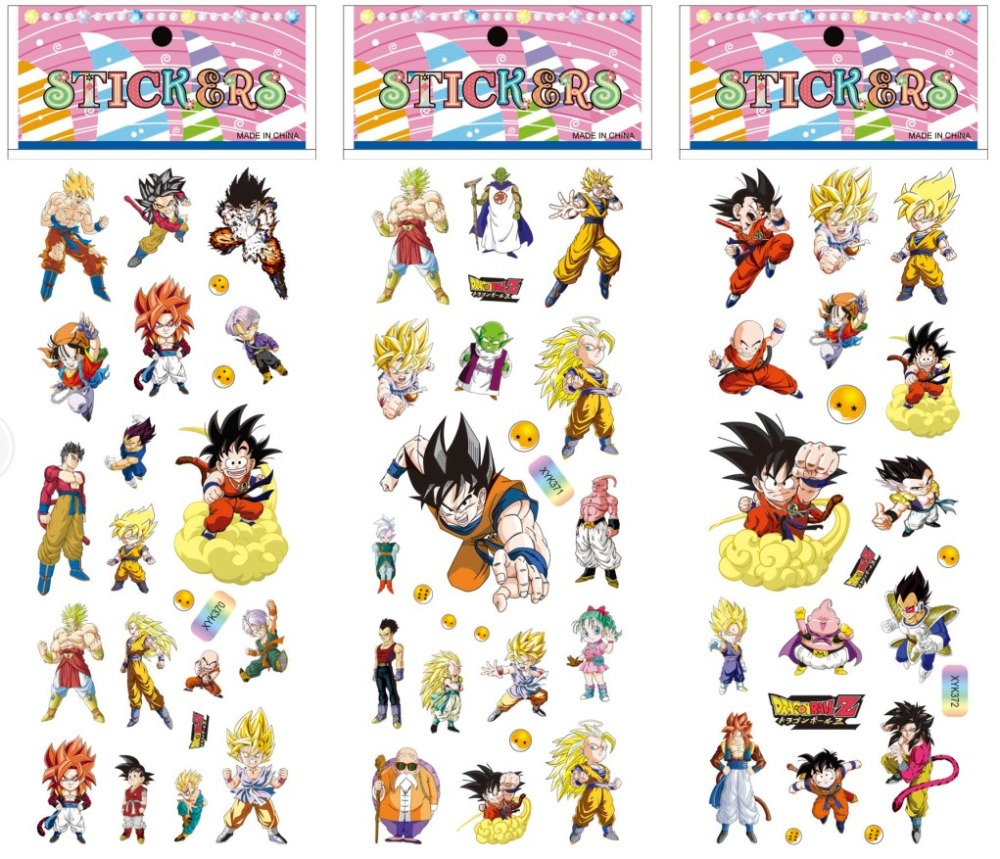 6sheets dragon ballnaruto stickers mixed cartoon bubble stickers of kid dragon ballnaruto assembles toy gifts in action toy figures from toys hobbies