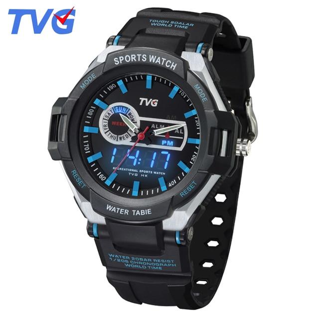 ae8c90d2373 TVG Homens De Luxo Da Marca Relógio Do Esporte Digitais À Prova D  Água  Relógio