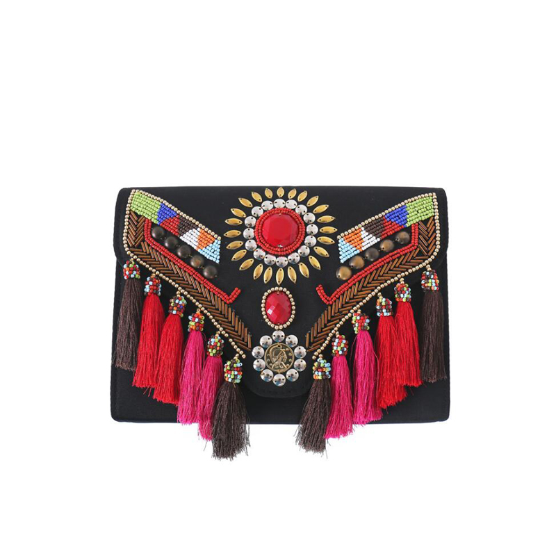 National Style Women clutch Bag Handmade beaded Tassel Crossbody Bags for Women messenger bag Ladies party Evening Bag 2017 NEW 2015 2 side sequined chinese style fish shaped ladies evening bags small crossbody bags for women clutch wallet pochette l702