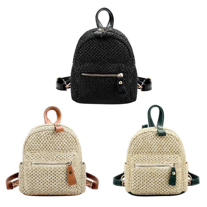 Two Ways Using Backpack Women Mini Shoulder Bag Straw Weave Hollow Beach Satchel Schoolbag