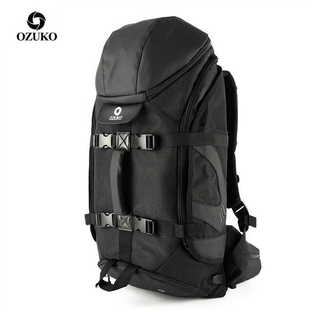 OZUKO marka mężczyźni podróży o dużej pojemności 15.6 cal laptopa plecak mężczyzna wielofunkcyjne górskie plecaki torby sportowe na zewnątrz