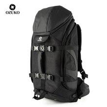 Ozukoブランドの男性大容量15.6インチのラップトップバックパック男性多機能登山パックバッグ