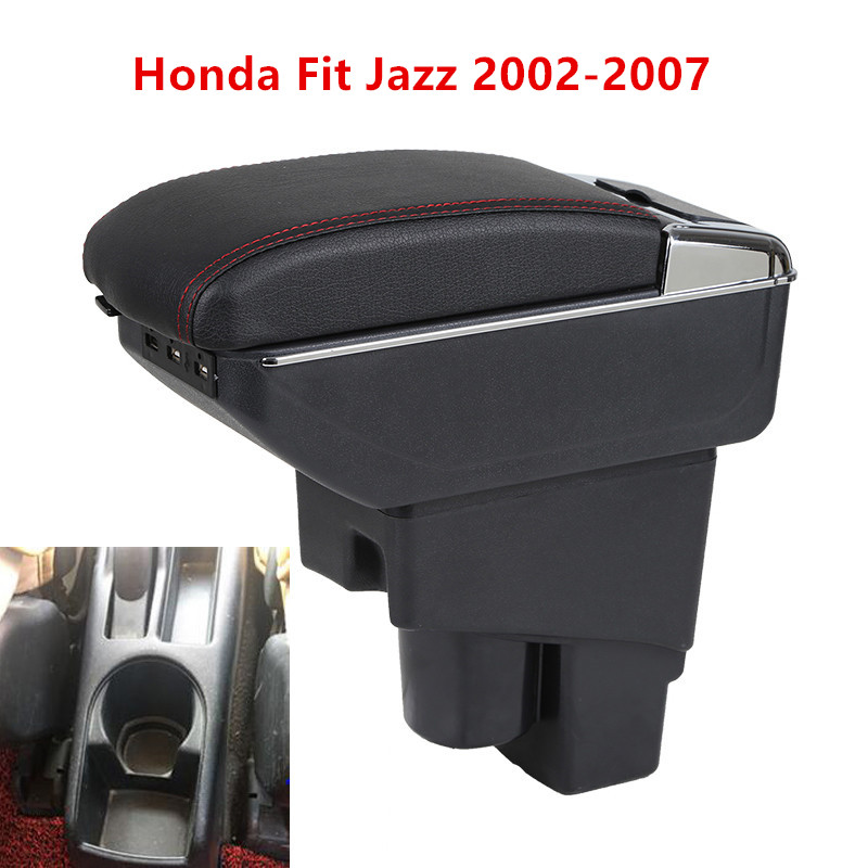 Facibom Hatchback Center Centre Console Storage Box Rotatable Armrest Car Armrest Box for Fit Jazz 2002-2008 Car Accessories Black Thread