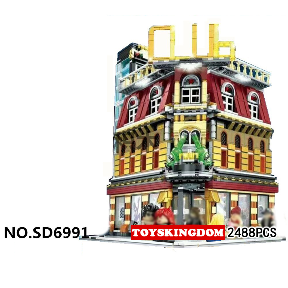 Hot city street view Nightclub bar moc building block with USB light Streetscape bar model figures brick toy collection for gift led blue light octopus electronic building block brick module for arduino