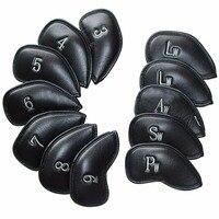 12pcs/Set Andux PU Leather Golf Club Iron Head Covers Golf Headcover Sets Golf Accessories Black Mt/pu