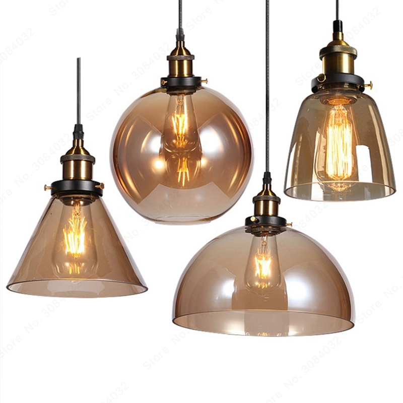 BDBQBL LED Loft Vintage Hang Lamp Pendant Lights Hang Lamp Glass Rope Industrial Smoky Grey Colgante Luster Kitchen Garden