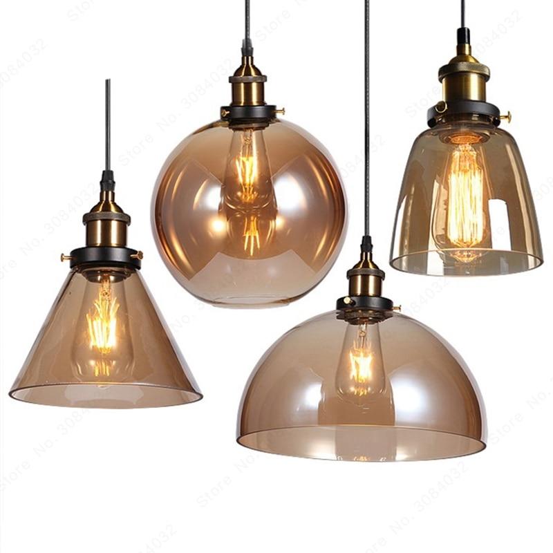 BDBQBL LED Loft Vintage Hang lamp Pendant Lights Hang lamp Glass Rope Industrial Smoky Grey Colgante Luster Kitchen Garden