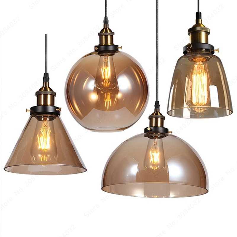 BDBQBL LED Loft Vintage lámpara Colgante luces Colgante lámpara Colgante Cuerda de vidrio Industrial gris ahumado Colgante cocina jardín