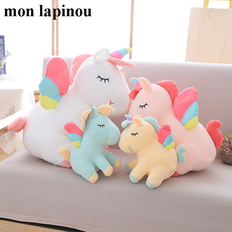 25cm 40cm 55cm lovely unicorn plush toy pink fly horse with rainbow wings baby kids appease doll birthday gift for little girl