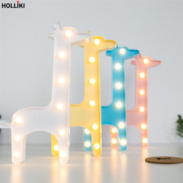 3D LED Giraffe Shape Table Lamp Light Battery Powered Vogue Marquee Letter Night Lamp For Baby Bedroom Christmas Decor Kids Gift