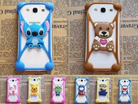 50pcs Lot Anti Fall Off Silicone 3D Cartoon Stitch Universal Phone Frame Bumper For Iphone4S 5S