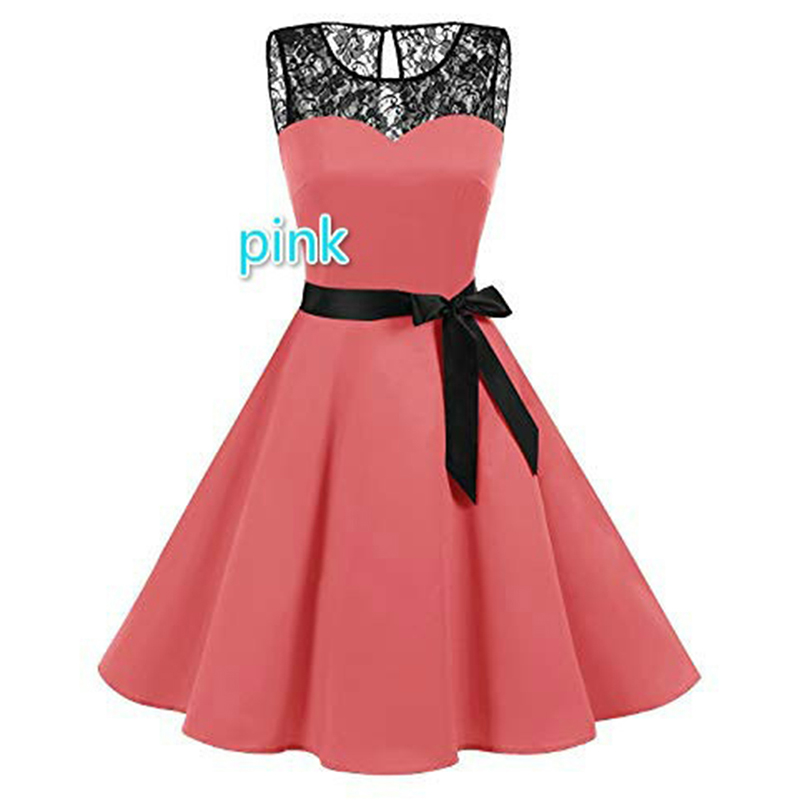 2019 Evening Party Sleeveless O Neck Belt Lace Patchwork Dress Slim Elegant Dress Women Vestidos