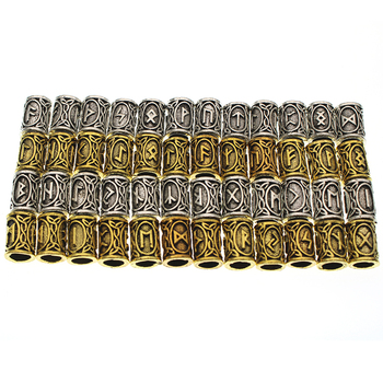 24pcs/Set Vintage Runes Viking Beard Beads TIWAZ TYR Sol Runes Tube Spacer Beads Charms For Hair Necklace Bracelet DIY Jewelry image