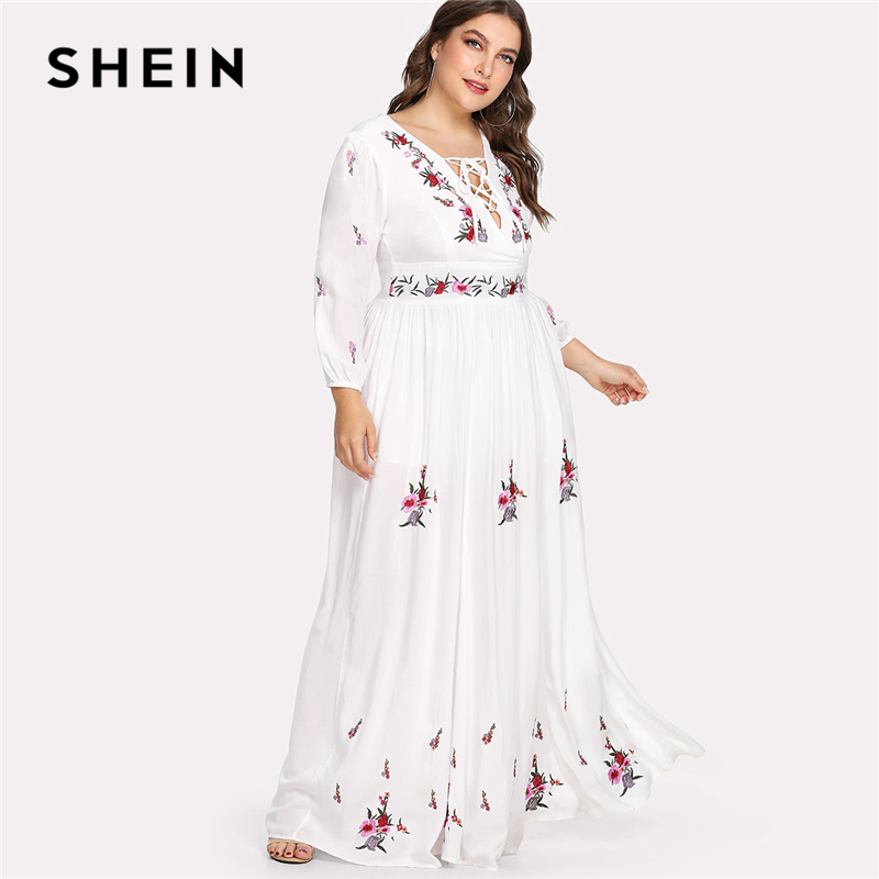 SHEIN Lace Up Front Flower Embroidered Maxi Dress 2018 Summer Deep V Neck Three Quarter Sleeve Long Dress Women Plus Size Dress np bx1 replacement 3 6v 1240mah li ion battery for sony sony rx100 rx1 camera white