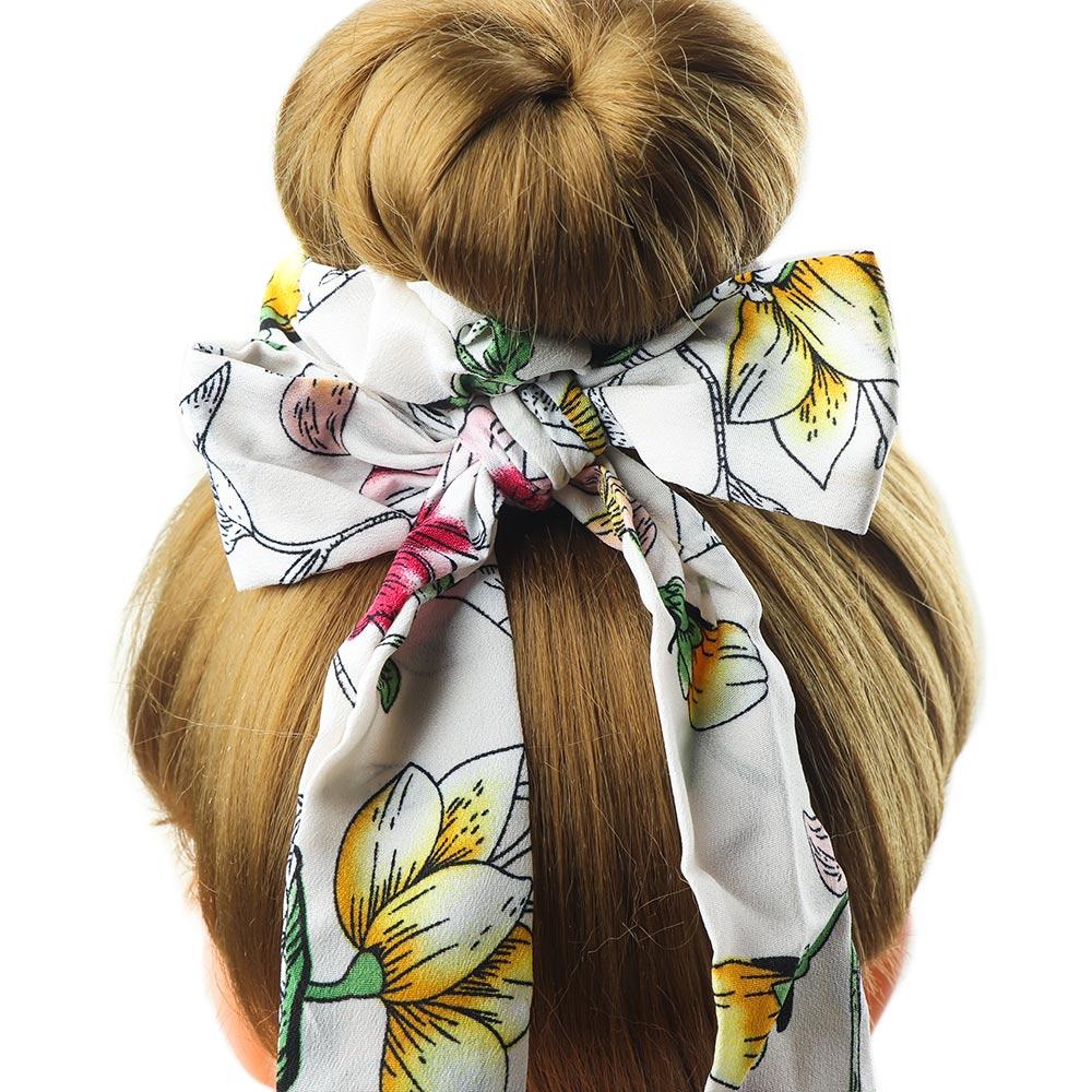floral chiffon bow long hair scrunchies