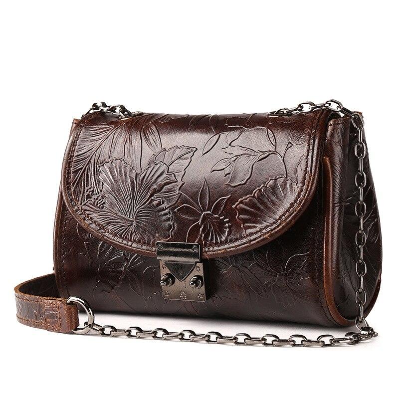 Brand Vintage Genuine Leather Mini Casual Bag Women's Shoulder Bag Ladies Messenger Bags Cell Phone Travel Bags Floral Engraved vintage faux leather rope engraved floral necklace for women